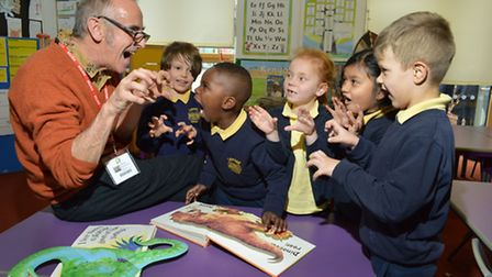 Author and illustrator Paul Strickland with Year 1 students at Laycock Primary School as part of Wor