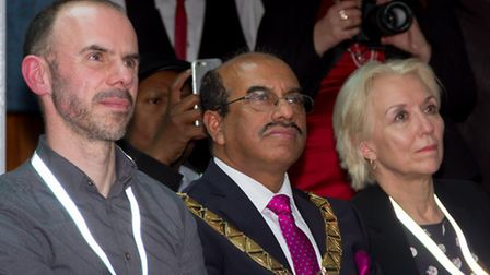 Trust chief executive Mark Allan, Brent Mayor Parvez Ahmed and Independent Chair of South Kilburn Tr