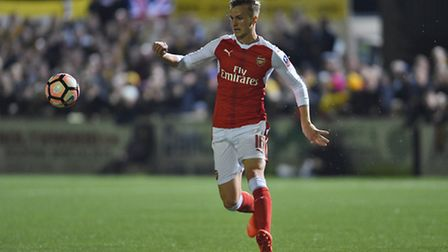 Arsenal's Rob Holding in action at Sutton in the FA Cup (pic Daniel Hambury/Empics)