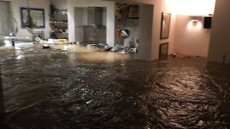 Stuart took this picture of his kitchen, which was completely destroyed in the flood. Picture: @Stua