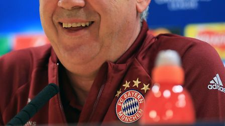 Bayern Munich manager Carlo Ancelotti during a press conference at the Emirates Stadium, London.