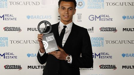 Tottenham's Dele Alli poses with the Young player of the year award during the London Football Award