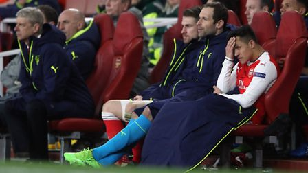 Arsenal's Alexis Sanchez after being substituted during the UEFA Champions League Round of 16, Secon