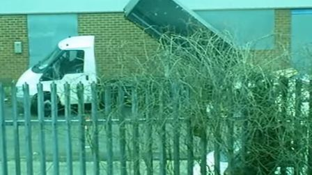 An lorry dumps waste at the Bush Industrial Estate. Picture: ANITA FRIZZARIN