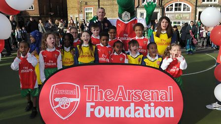 Ex-Gunner Nigel Winterburn opens the new football pitch funded by the Arsenal Foundation at Hargrave