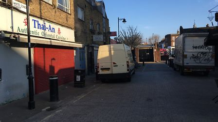 Last night's brawl spilled from Chapel Market into White Conduit Street. Picture: James Morris