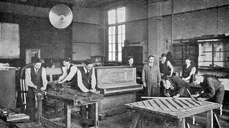 The piano workshop of Northern Polytechnic Institute's music trades school in Holloway Road. Picture