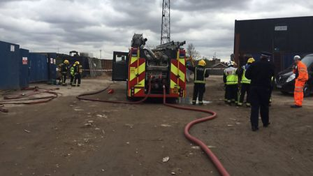 Fire crews are tackling a waste that is still alight at scrap yard in Cricklewood (@Londonfire)