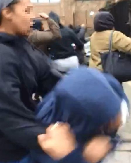 The 'students' brawl in Goswell Road.