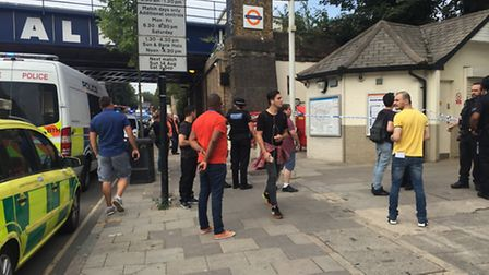 Police outside Caledonian Road and Barnsbury station (Picture: Sam Gelder)
