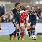 Lucia Leon of Tottenham Ladies battles for the ball in the Women's FA Cup tie with Arsenal. Picture: