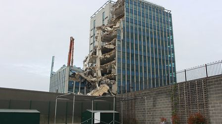 Part of Brent House, in High Road, Wembley, collapsed on Thursday afternoon