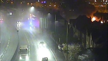 A406 was closed early on Saturday morning as fire crews tackled balze in Neasden (@LFB)
