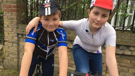 Nine-year-old Alfie Earl and his sister Saskia, 12, are set to take on the London to Paris ride.