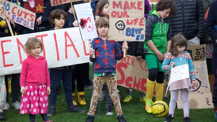 Marchers gathered at Tiverton Playing Fields Brent to protest against cuts to schools funding. Photo