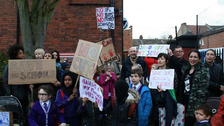 Protesting against education funding cuts at Leopold School. Photo by Anna Myers