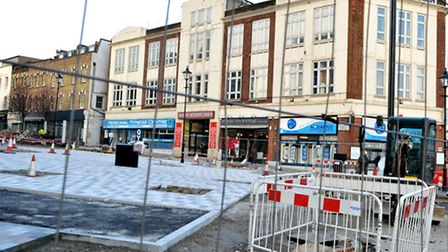 The ongoing work to pedestrianise Archway town centre. Picture: Polly Hancock