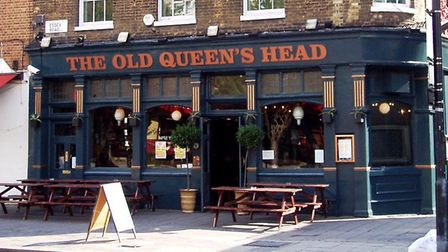 Three people were injured by a car outside the Old Queen's Head pub in Essex Road. Picture: Ewan Mun