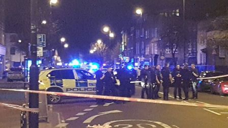 The scene in Essex Road after a car ploughed into pedestrians on Saturday night. Picture: Shulem Ste