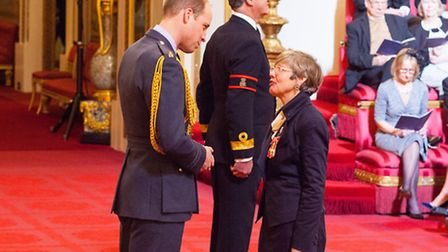 Rosy Greenlees is made an OBE by Prince William at Buckingham Palace on Thursday. Picture: Dominic L