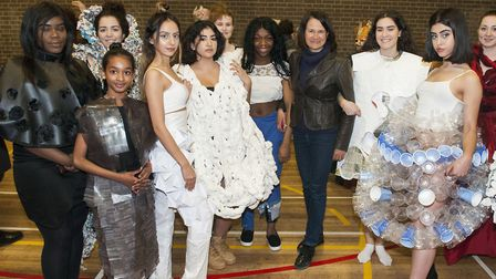 Catherine West, centre, pictured with some of the models. Picture: Nigel Sutton