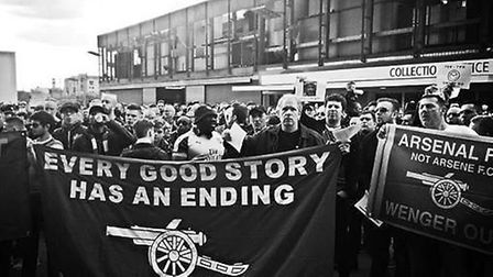 Protestors outside the Emirates before Arsenal's 2-2 draw with Manchester City. Picture: Layth Yousi