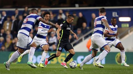 Brighton & Hove Albion's Anthony Knockaert runs at the Queens Park Rangers defence (pic Steven Pasto