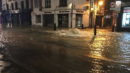 The burst main in Upper Street devastated businesses and homes. Picture: Met Police