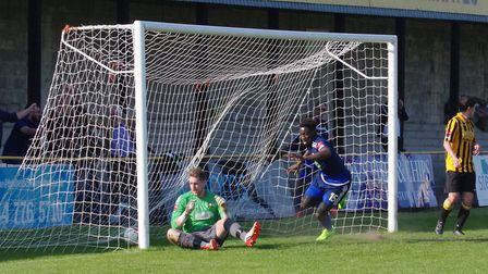 Marcel Barrington celebrates his goal. Picture: DBEECHPHOTOGRAPHY