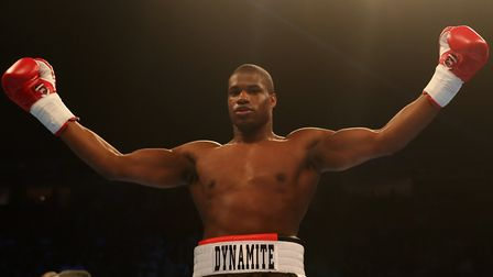 Former Islington ABC boxer Daniel Dubois celebrates after victory over Marcus Kelly at Manchester Ar