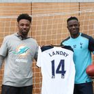 Miami Dolphin's Wide Receiver Jarvis Landry with Tottenham Hotspur's Victor Wanyama. Picture: DAVE S
