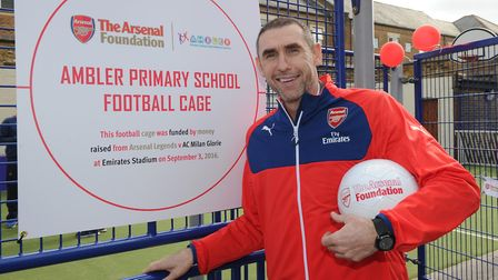 Martin Keown opens a new all-weather astro-turf pitch at Ambler Primary School in Finsbury Park. Pic