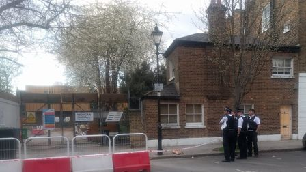 Officers at the scene after bones were found in Cloudesley Square, Barnsbury. Picture: Flickr/baddog
