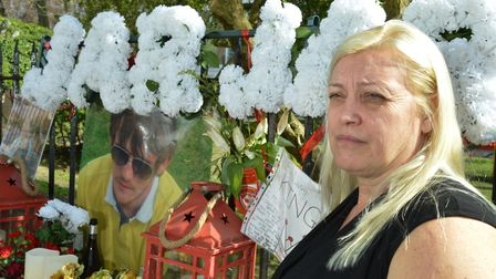 Michelle McPhillips at JJs memorial outside the family home in Milner Square. Picture: Polly Hancoc