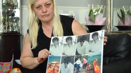 Michelle McPhillips with photos of JJ at the family home in Milner Square. Picture: Polly Hancock
