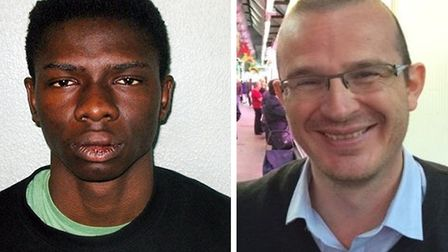 Femi Nandap, left, stabbed Dr Jeroen Ensink, right, to death in Holloway. Picture: Met Police
