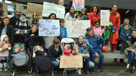 Parents and cafe users with campaign placards outside the cafe in Paradise Park. Picture: Polly Hanc