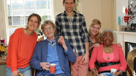 Contact the Elderly's tea party in Cloudesley Street on Sunday. From left: Stephanie Van De Werve, A
