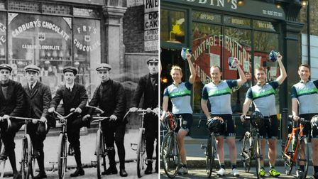 Left, Hazellville Cycling Club in 1909. Right, Islington Cycling Club on the same spot on Sunday. Pi
