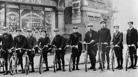The Hazellville Road Cycling Club outside Hudson's in 1909.