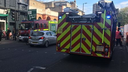 Emergency services outside Highbury and Islington station this afternoon. Picture: Patrick Dunne