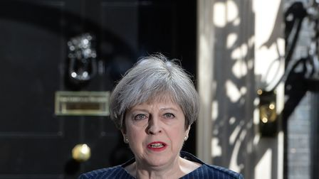 Prime minister Theresa May outside No 10 Downing Street, London, announcing a snap general election