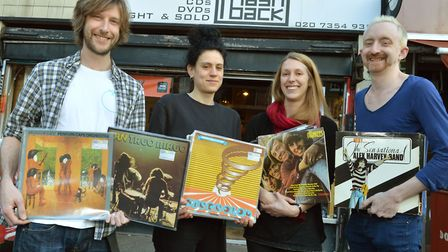 Staff at Flashback on Essex Road from left Paul Cross, Stef Fiorendi, Liz Daw and Jimmy Martin. Pict
