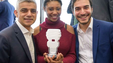 Twipes founders Ellenor McIntosh and Alborz Bozorgi receive their award from Sadiq Khan. Picture: Be