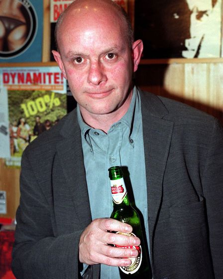 Nick Hornby inside Reckless Records in Islington, after attending the UK Charity Premiere of the ada