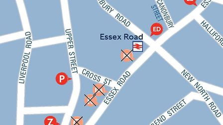 Bus routes at the bottom of Essex Road will be closed until late June. Picture: TfL