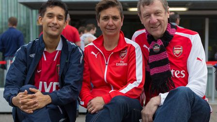 Dave Raval, left, with fellow Gay Gooners founders Zitta Lomax and Stewart Selby. Picture: Jason Ila