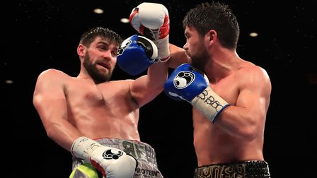 Rocky Fielding in action against John Ryder (right) during their British super-middleweight title bo