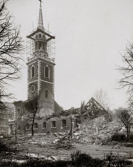 St Mary's Church in Upper Street pictured shortly after it was bombed in 1940. Picture: Islington Lo