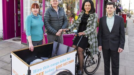 Cllr Claudia Webbe launches Archway 'zero emissions network' with Archway business owners Jacqui Sta